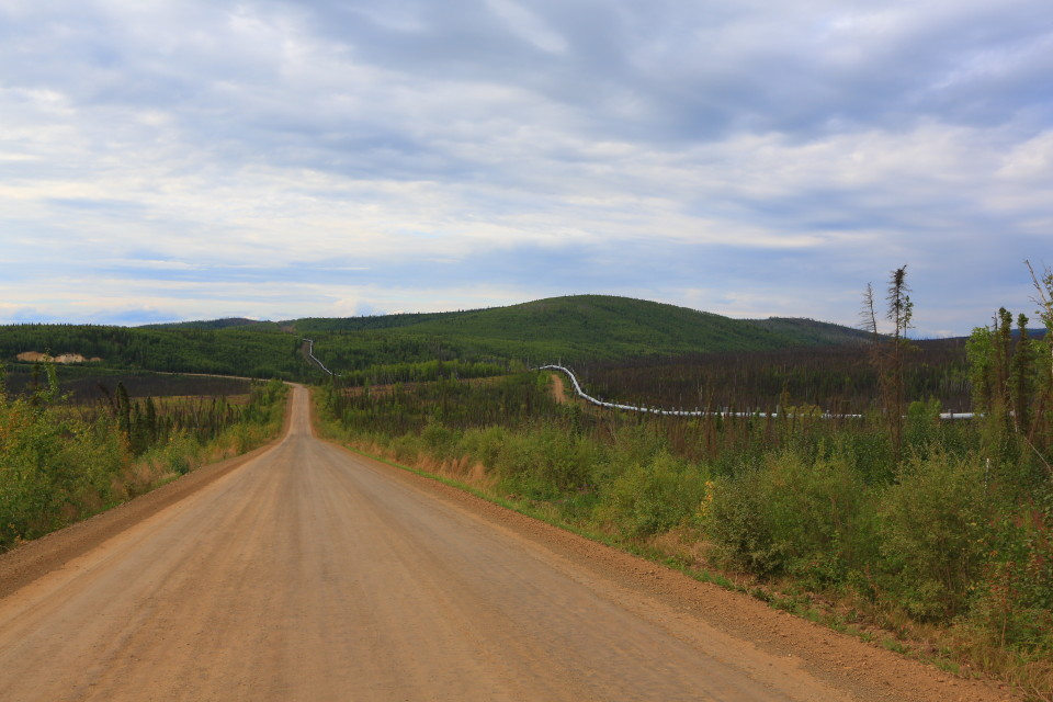 A stretch of the Dalton Highway.  You can see the Alaskan Pipeline to the right of the road.