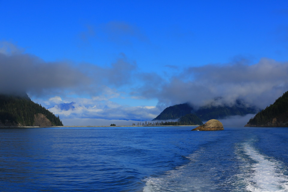 Resurrection bay opening up to the wide ocean