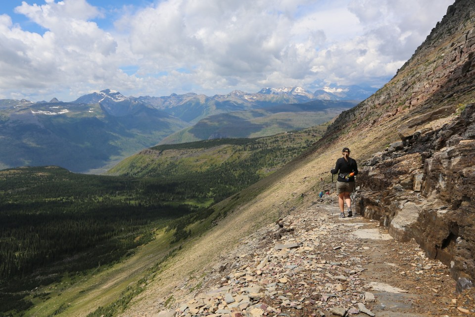 Erica hikes the Skyline trail in Glacier National Park.