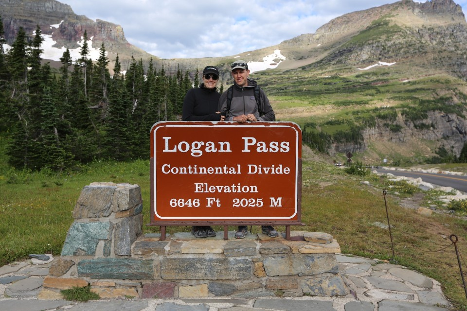 At Logan Pass before we depart on the Highline Trail.