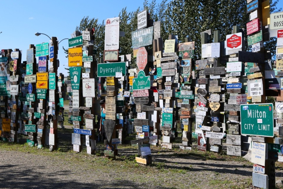 Watson Lake Signpost Forest- more than 72,000 signs, great free museum about the Alcan in visitor center. See if you can find me....