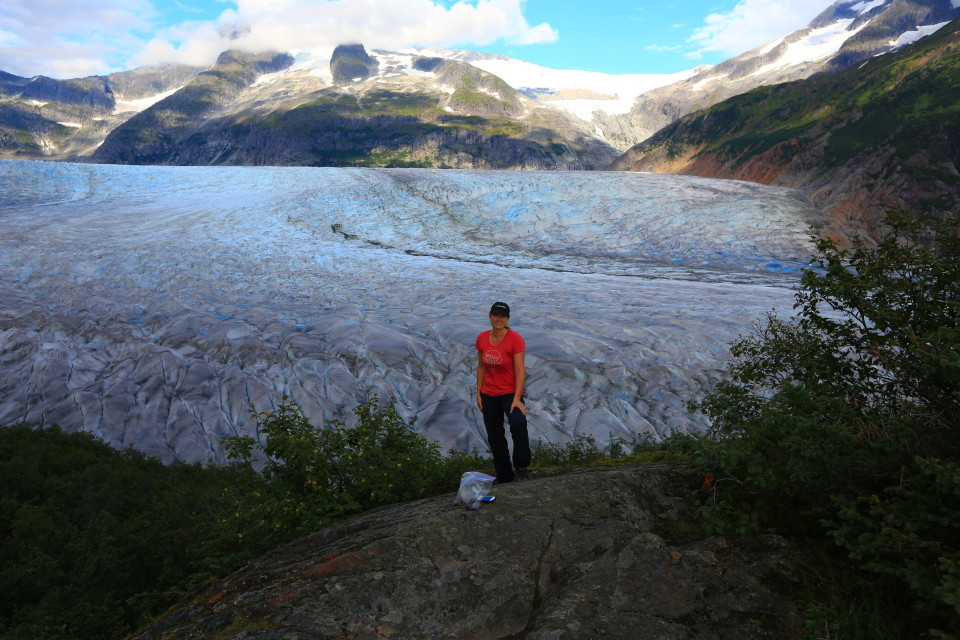 Erica checks out Mendenhall Glacier on the West Glacier hike in Juneau, Alaska.