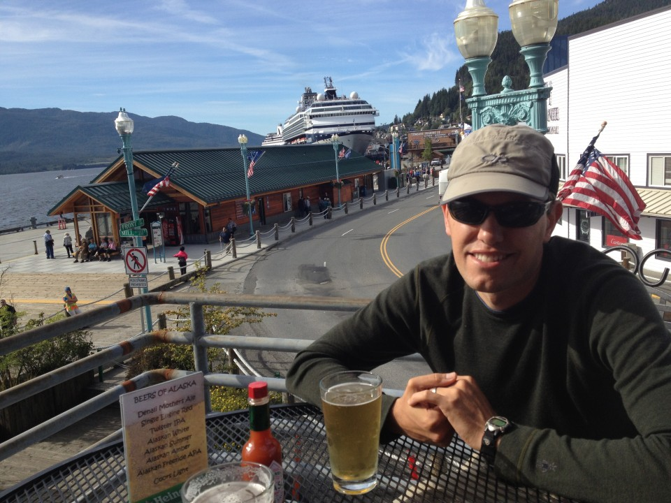 Having a beer in Ketchikan. It was the most touristy city we visited.