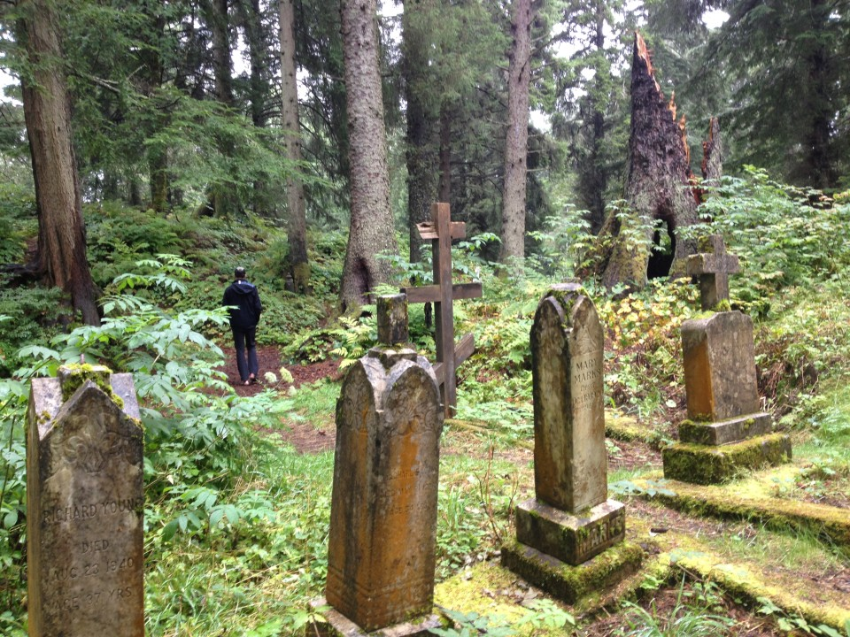 Sitka was occupied by the settled by the Russians in 1799 (or taken away from the Tinglits depending on how you look at history). This picture was in the old Russian cemetery.