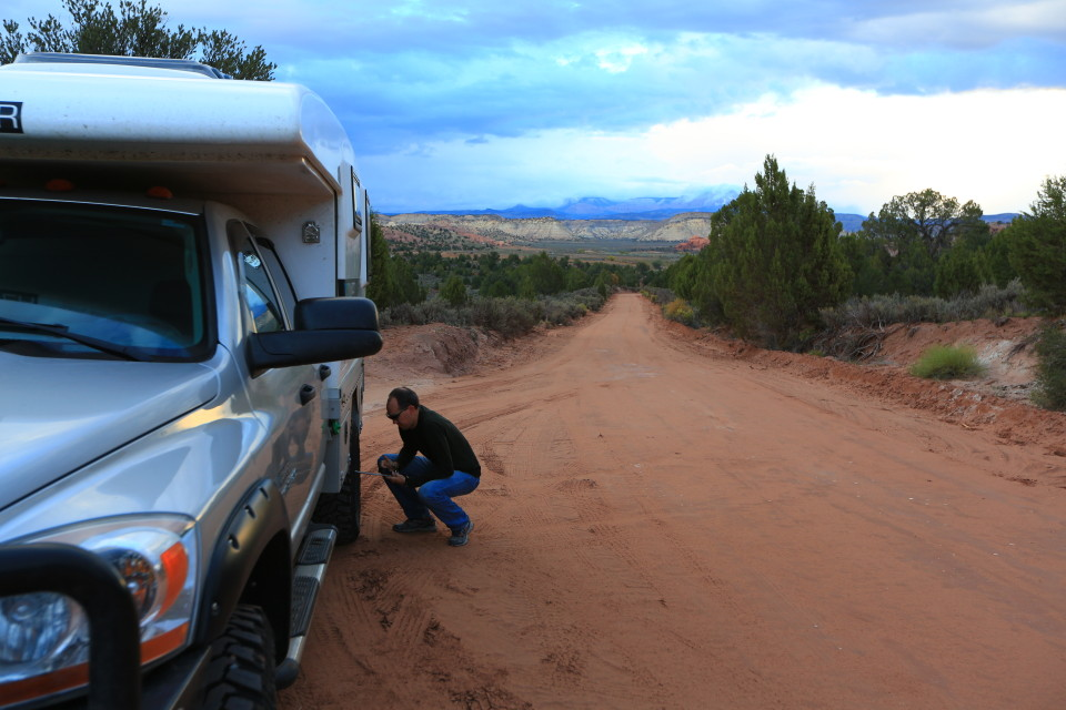 Sam airing down the tires getting ready for some off road fun.