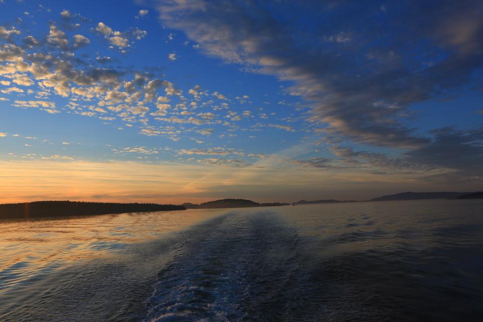 Sun setting over San Juan Islands.