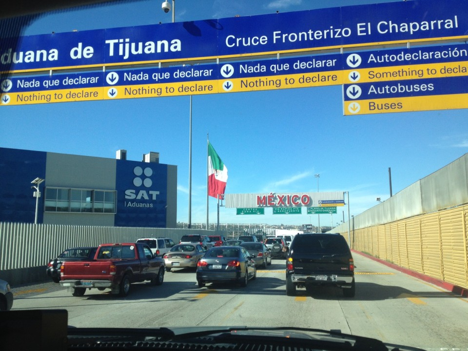 Driving up to the Mexican border.