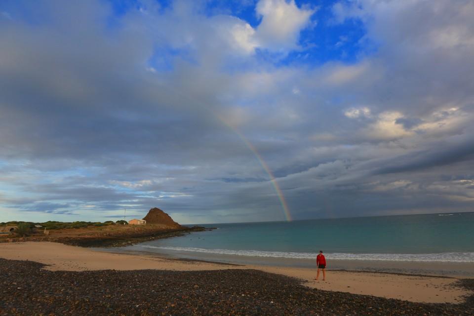 Rainbow between the rain.