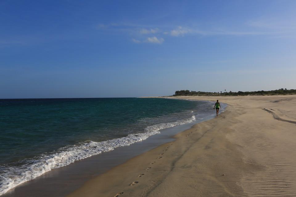 White sand beaches for miles.
