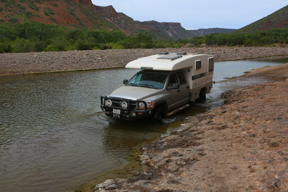 Our Dodge and the Toyota survived the first major river crossing.