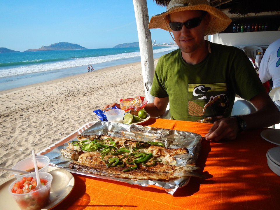 You can't come here and not eat Pescado Zarandeado, a marinated grilled fish with fresh onions and peppers BBQ over mesquite on the beach. Mazatlan is famous for this and it was by far one of the best things we have eaten in Mexico to date and that's saying something!