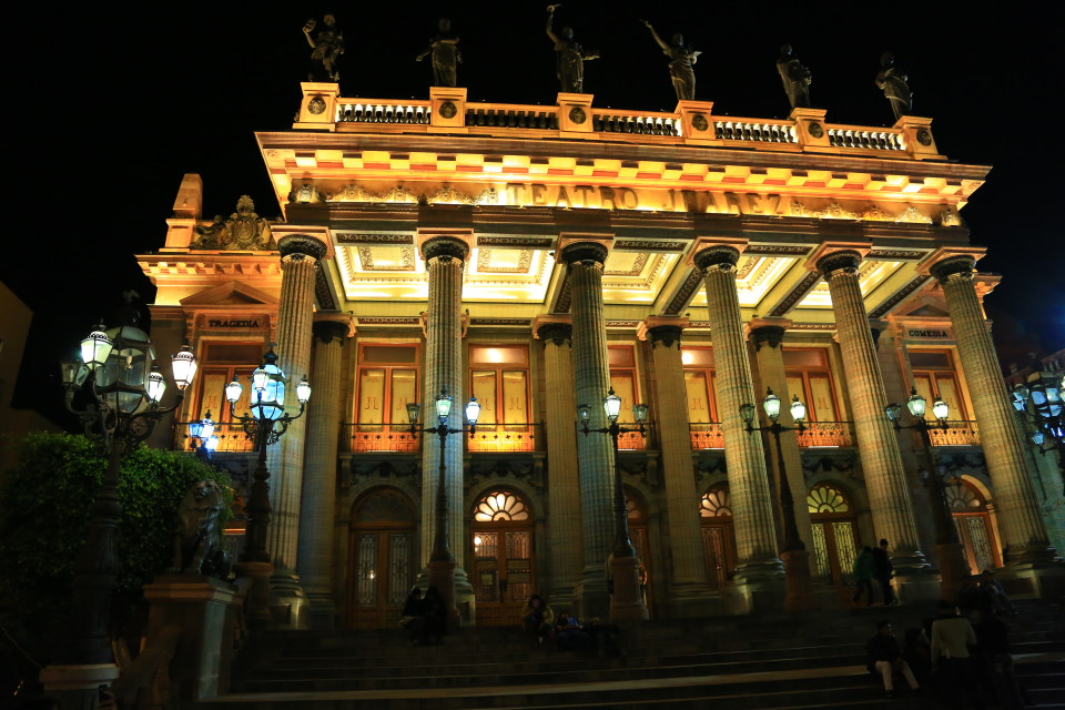 The stunning Teatro Juarez whose steps are full of students every night.