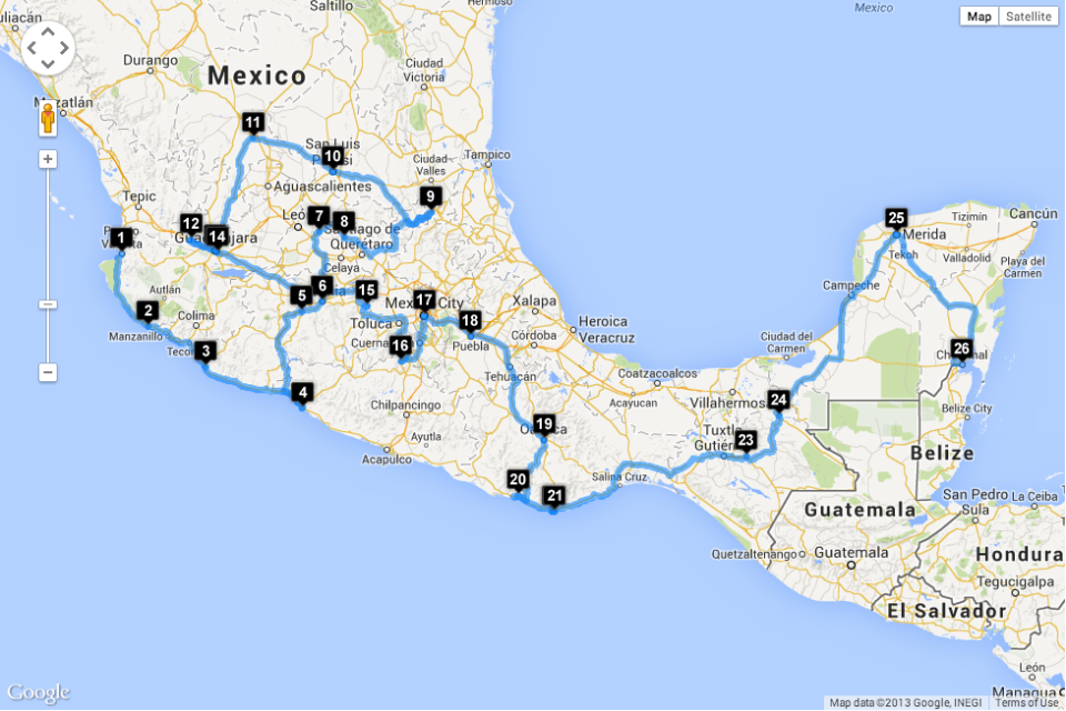 A suggested route through Mexico -- this was a great help to us in our planning.