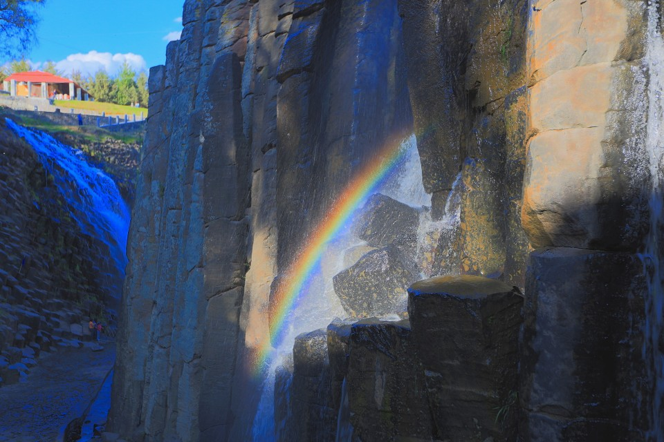 Prismas- the waterfalls created many small rainbows around the rock formations.