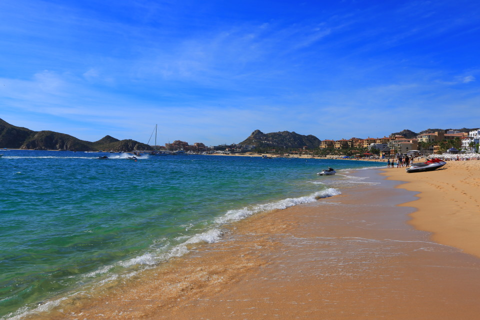 The golden sand beach in Cabo San Lucas.