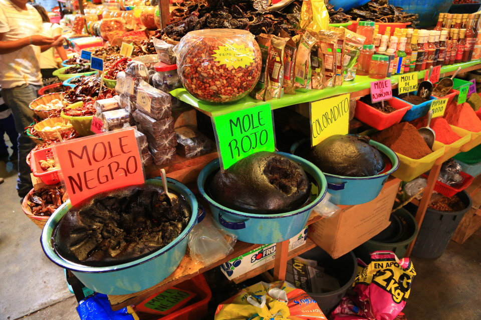 The three types of mole for sale in the mercado. Our favorite was the coloradito.