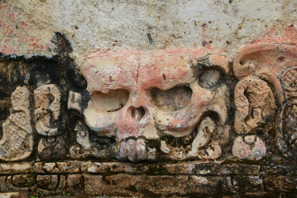 Loved this close up Sam took. The Mayans sure liked their skulls.