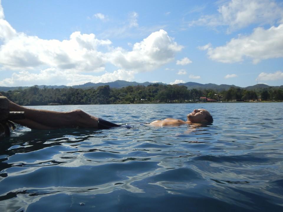 Sam swimming in the lake near our campsite.