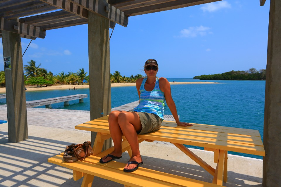 Hanging out in the shade on the dock. The heat in Belize was surprising. It averaged between 90 and 105 degrees while we were here.