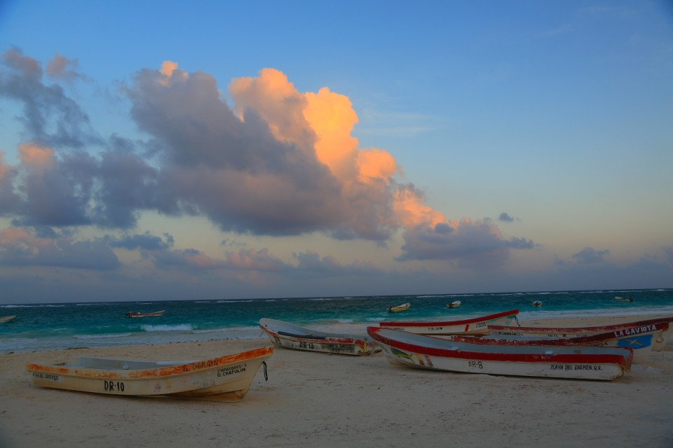 Tulum beach right before sunset.