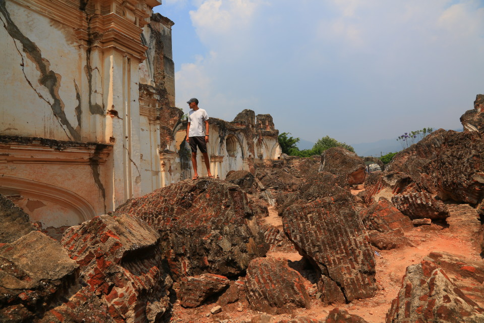Sam taking in the scope of destruction of the once beautiful convent.
