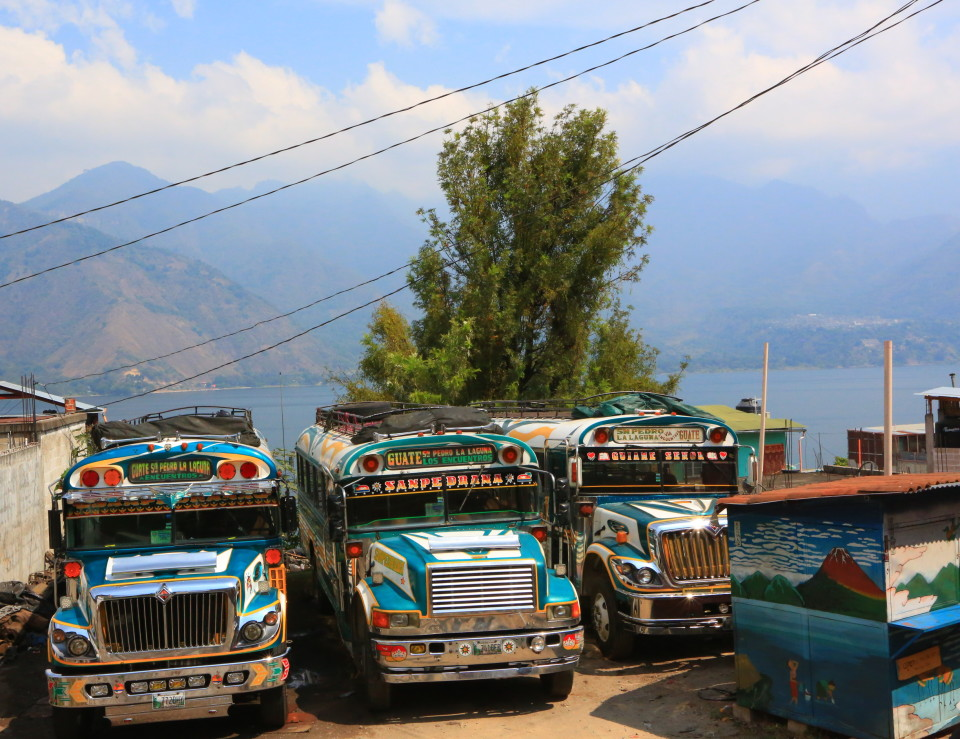 You have to love the recycled school buses called chicken buses in Guatemala. They were all blinged out and had names and crazy paint jobs.