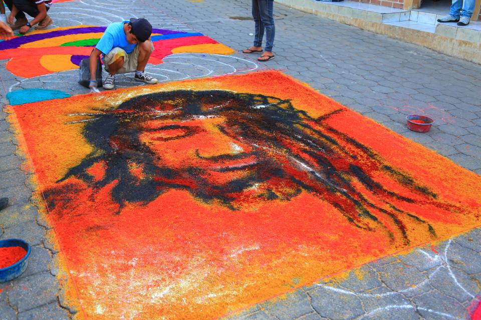 We loved the ones done by the teenage boys. Modern street art Jesus.