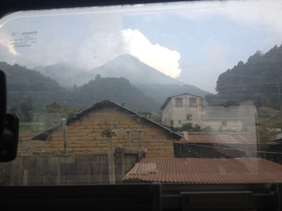 This is a picture of the volcano from the XP door window. It was so close, I was sad we could not climb it.