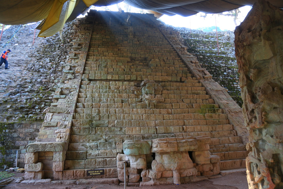 The staircase with over 1600 glyphs that told the history of the Mayan rulers. Pretty amazing minus the dirty tarp hanging sloppily over it.