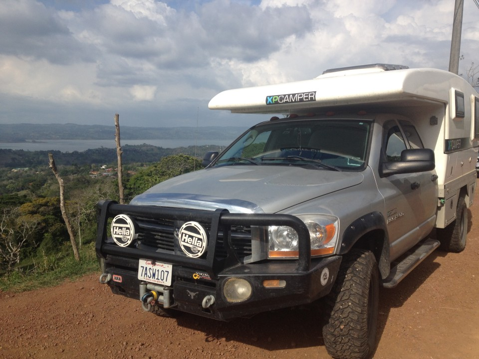 We stopped to take a glamour shot of the XPCamper with a great view of Lake Arenal in the background.
