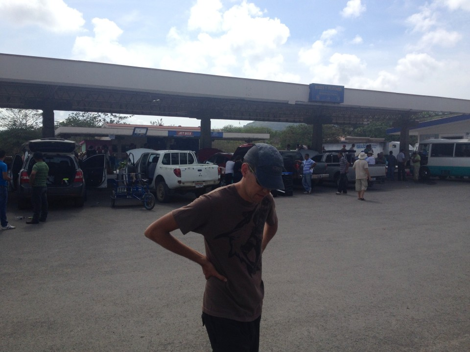 Sam bakes in the heat at the vehicle inspection area at the Nicaraguan border.