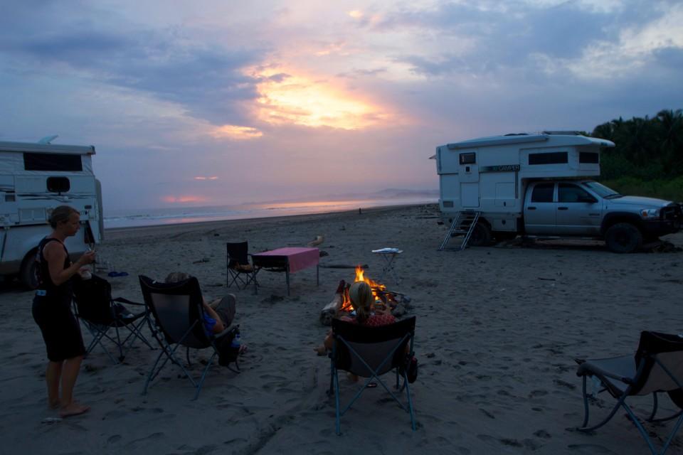 We built a fire as the sun set.