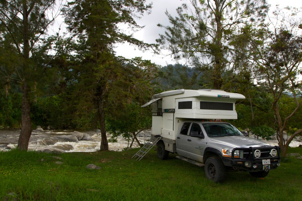 Our second camp site in Orosi next to a river. This one cost $4, but we had showers and wifi.