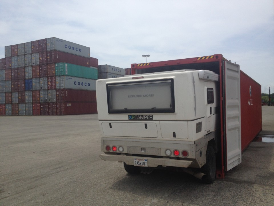 XPCamper crawls into the shipping container.