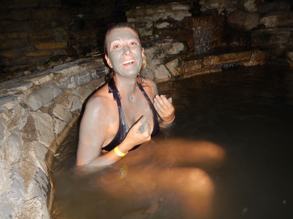 One of the pools had clay. Nighttime spa session in dark forest, check.