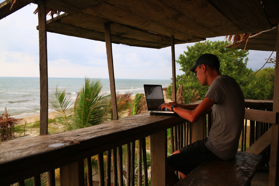 Sam in La Ceiba working on his overlander iPhone app. (More info to come soon!)
