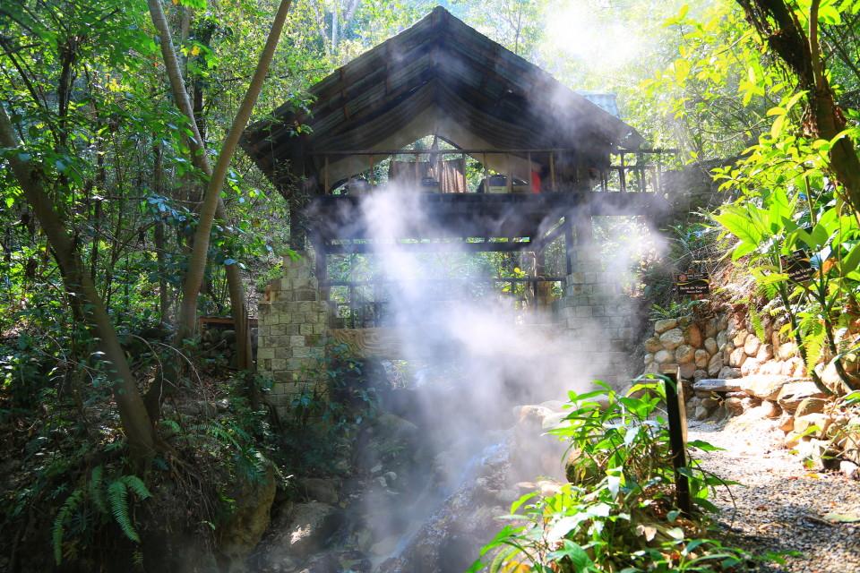 The massage platform and steam bath.