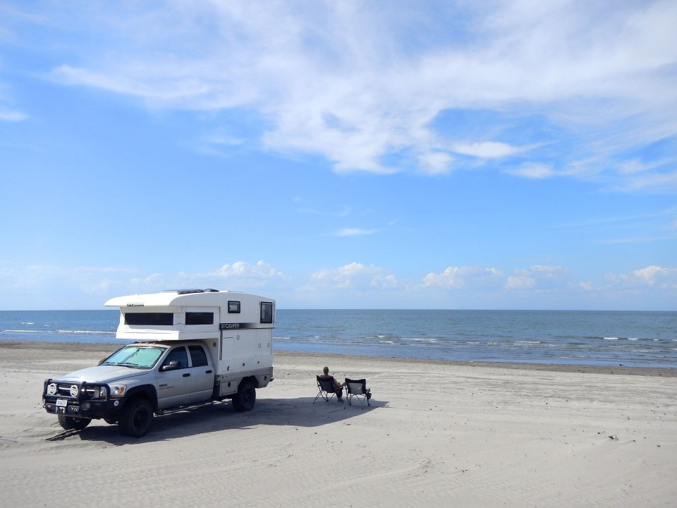 Relaxing alone on the beach of our relaxing camp spot.