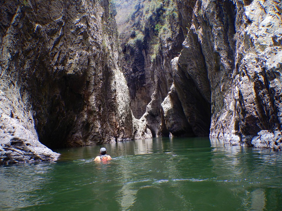 Inside you would swim between the canyon walls and then it would get shallow for a stretch so you could rest.