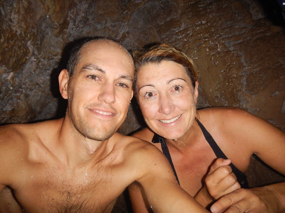 A selfie in the small cave you climb into behind the falls. You actually have to squeeze through a small hole to get into the cave, not for the claustrophobic for sure.
