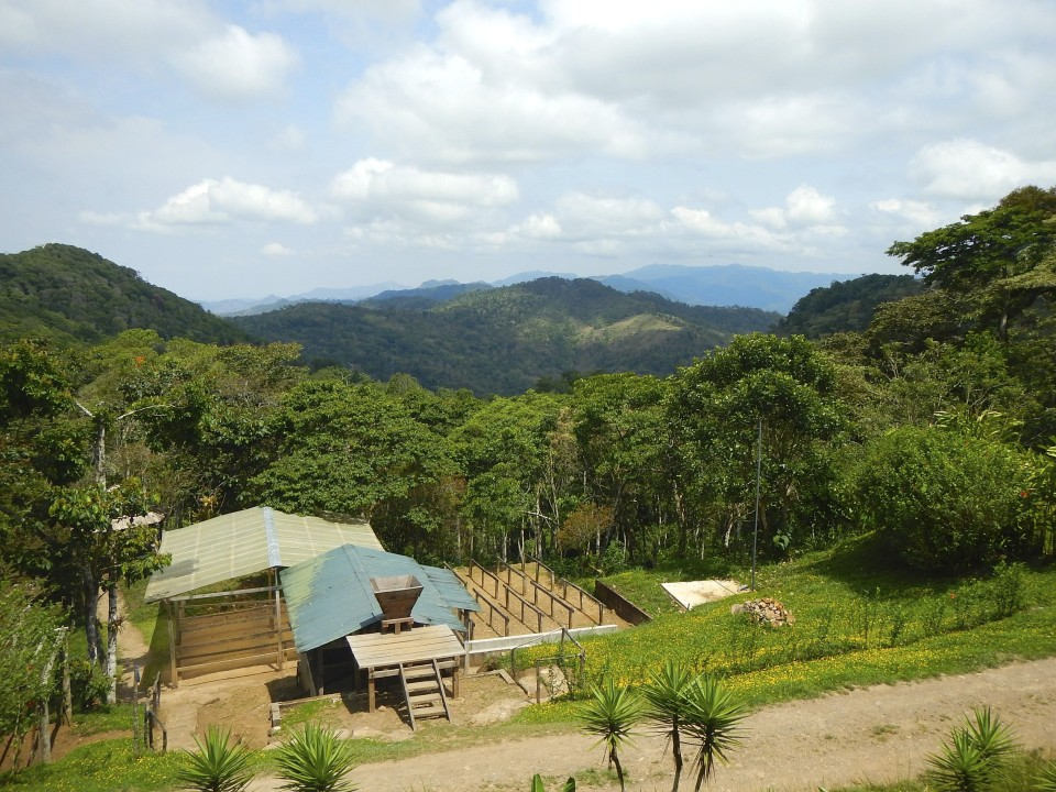 View of the coffee sorting machine and the valley of Matagalpa.