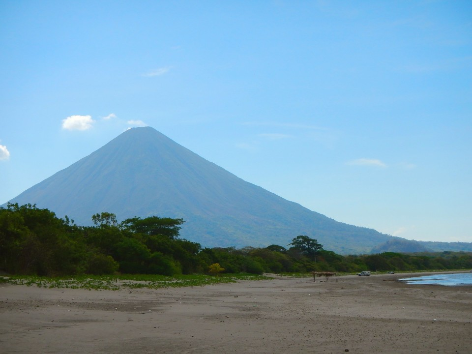 The beach was in the middle of the two volcanoes and you could see them both from the water. Really cool.