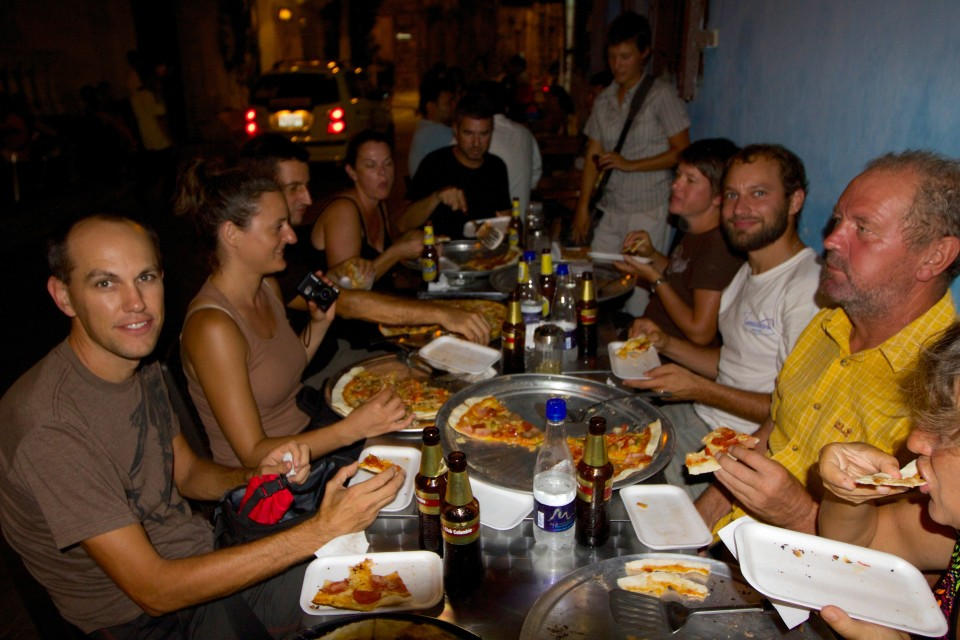 Since many people were shipping their vehicles over the gap at the same time we were, we got to reunite with many of the friends we had met on the road this last year (almost all of them have been Swiss German). Here we are at a pizza place in Getsemani swapping gap stories.