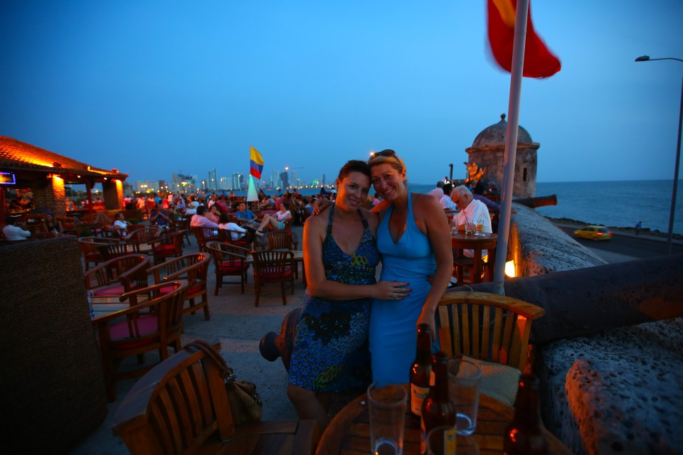 At Cafe del Mar where you have the best view and most over priced drinks in the city.