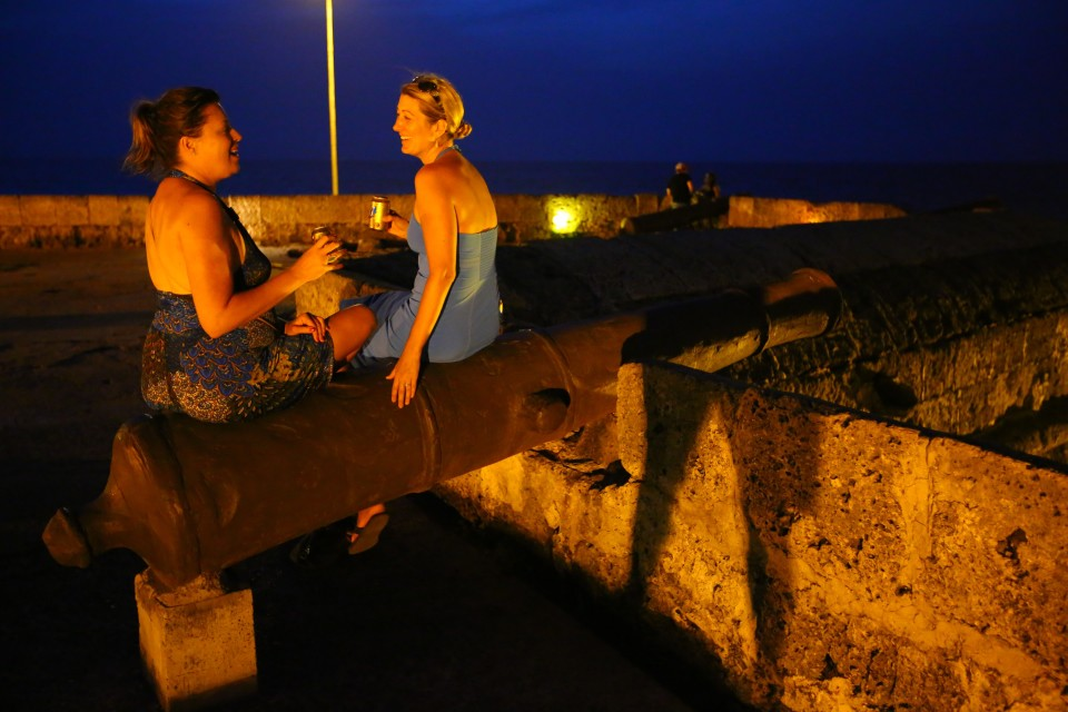 Drinks sitting on a canon with my BFF Nicole.