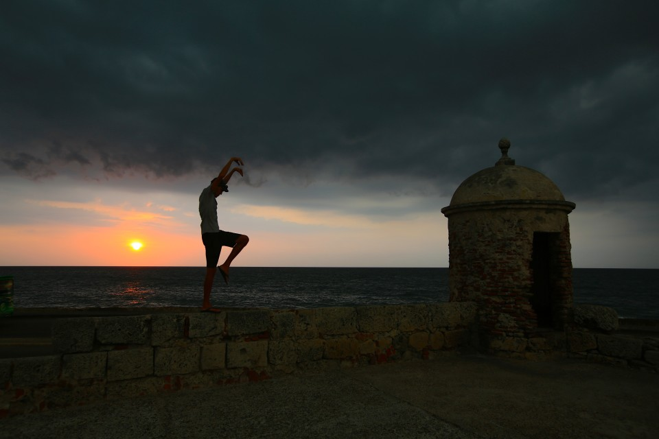 Sam, again feeling the need to recreate the famous Karate Kid pose.