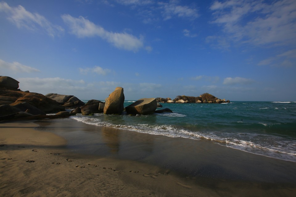 This is how I will remember Tayrona. Big round rocks, beautiful cool Caribbean waters.