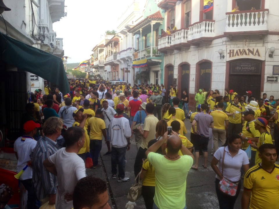 We were lucky enough to be in Colombia while the World Cup was on and the team had some amazing games. This is everyone celebrating in the streets of Getsemani after a win.