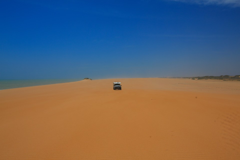 Driving on the dune.