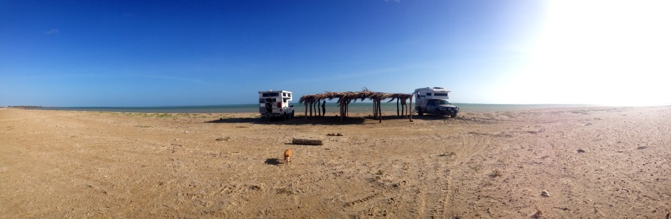 Our first nights camp site reminded us of Baja, right next to the water but with flamingos near by!